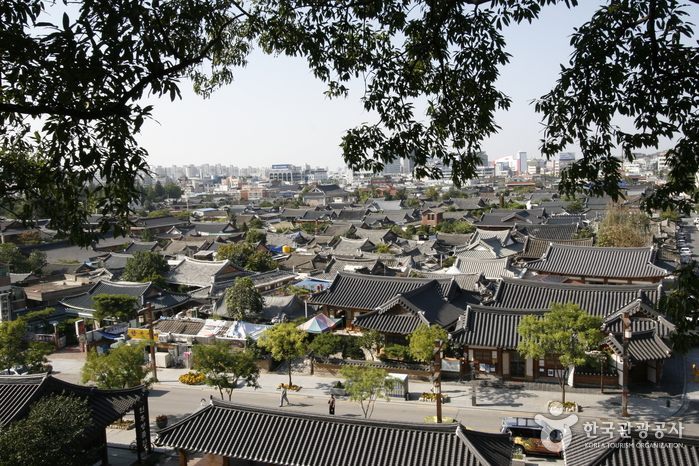 A view from above of the famous Hanok Village!
